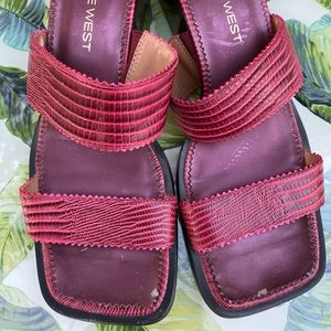 Nine West Vintage Red Slide On Sandals Block Heel